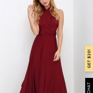 Lulus maxi burgundy convertible dress!